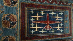 Drone War Rug - Hand woven, natual dye,