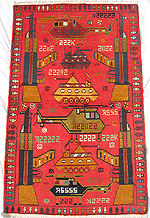 Green Truck Red Afghan War Rug This War Rug Is New, And Its Condition Is  Perfect.